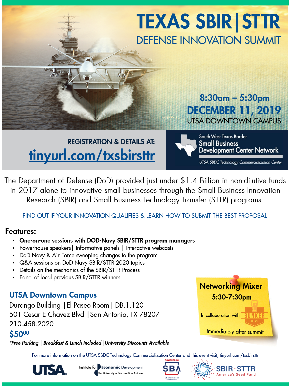 Tx SBIR Defense Innovation Summit - Flyer Final v2.0 - Corrected