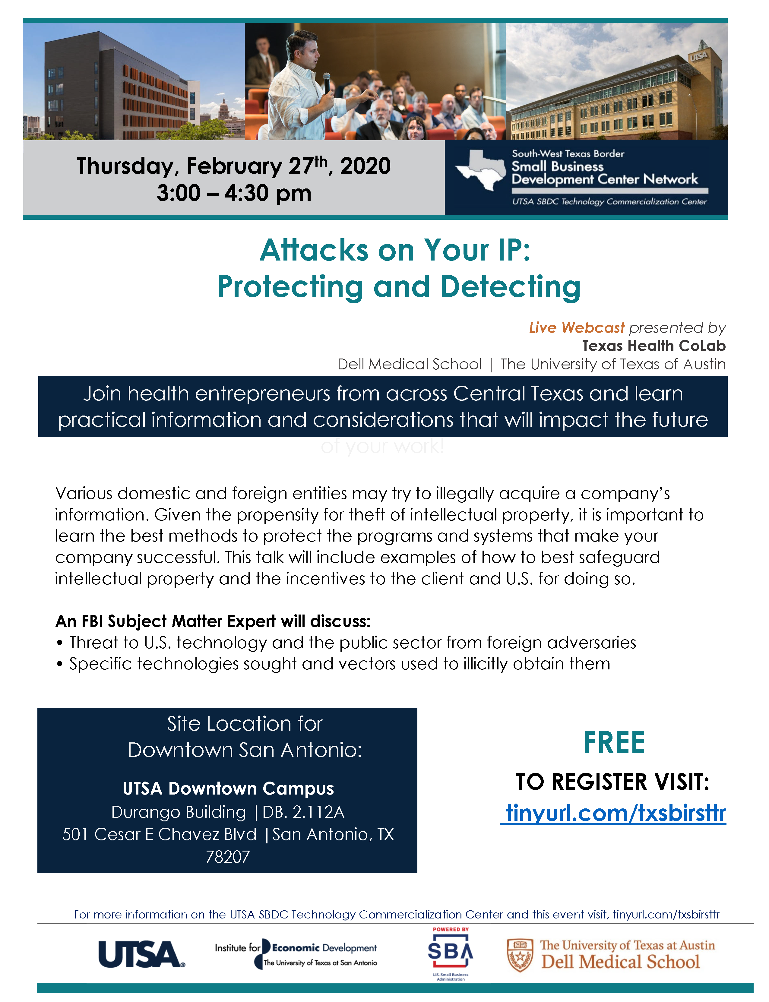 Texas Health CoLab Webinar flyer-Feb 27-IP Protection-DF